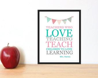 Teacher Appreciation Gift  PDF Digital Download Personalized Teacher Gift