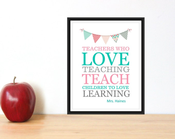 Teacher Appreciation Gift  PDF Digital Download Personalized Teacher Gift