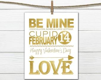Valentine Decor - GOLD - 8x10 INSTANT DOWNLOAD - Happy Valentine's Day Print