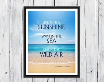 Nautical Beach Decor - Ocean Print - Ralph Waldo Emerson