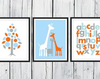 Giraffe Nursery  - 3 Print Set - Jungle Nursery  - Safari - Alphabet -  Nursery Decor 8x10  Custom Colors
