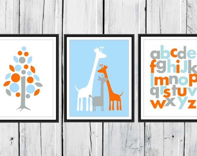 Giraffe Nursery  - 3 Print Set - Jungle Nursery  - Safari - Alphabet -  Nursery Decor 8x10  Custom Colors
