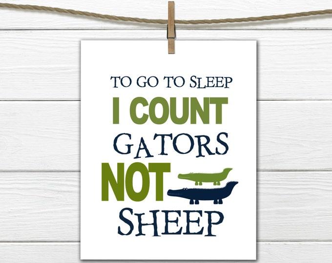 "Alligator Nursery Decor -  8x10 Instant Download Gator Print "" I count GATORS"