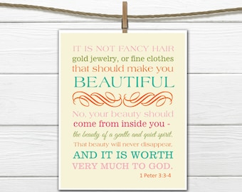 Bible Verse Christian Art  Print 1 Peter 3:3-4 Beauty  PDF Digital Download