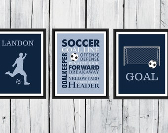 Soccer Wall Art - 3 Piece Set - Goal  - Soccer Player Silhouette - Soccer Word Art CANVAS AVAILABLE