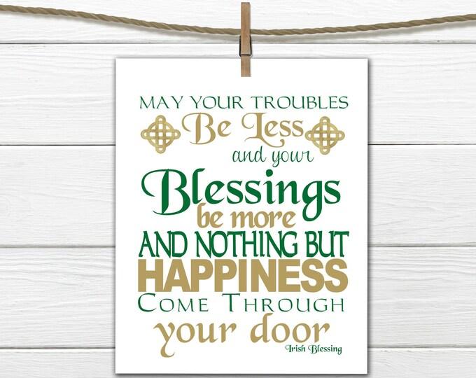 St Patricks Day Decor - Irish Blessing Print