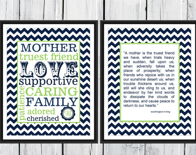 Mother's Gift Two Print Set Custom 8x10