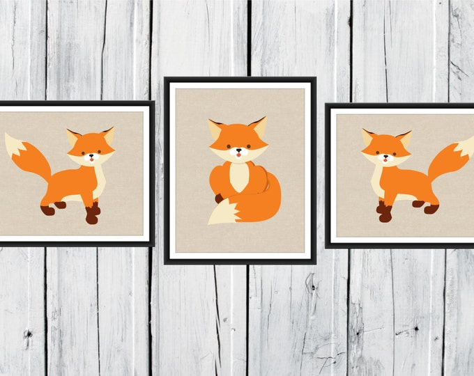 Fox Nursery Decor - 3 Piece set - Fox Print Trio
