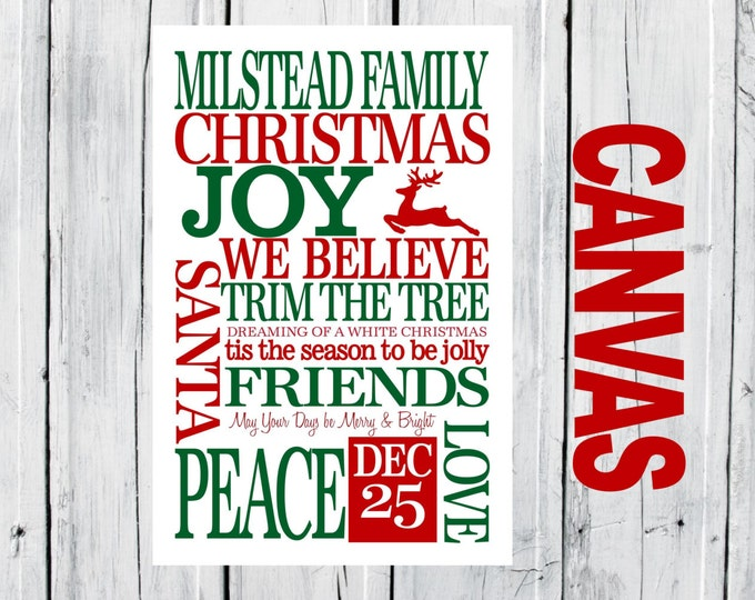 Christmas Family  CANVAS Prints - Christmas Decor 16x24 Special Christmas Pricing