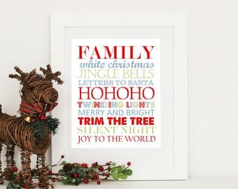 Christmas Print. Subway Art  Digital Download PDF Choose your colors & size