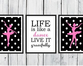 Ballet Wall Art - Polka Dots - Ballerina Prints  -  Set of 3