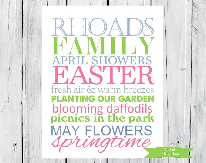 Spring Easter Print. Subway Art with Family Name Digital Download PDF