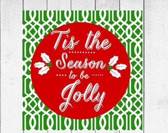 Christmas Decor -  Tis the Season on Lattice Background  CANVAS Christmas Special