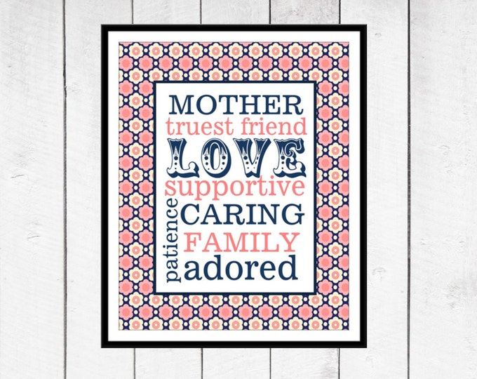 Mother's Day Gift -  Word Art Print - Gift for Mom - Mother's Day - Pink and Navy