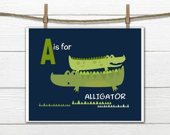 Alligator Nursery  - A is for Alligator - Nursery Decor-