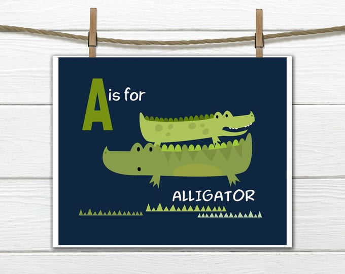 Alligator Nursery  - A is for Alligator - Nursery Decor-