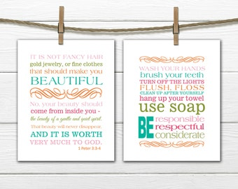 Bible Verse Christian Art  Print 1 Peter 3:3-4 - Bathroom Print Set - Bathroom Rules