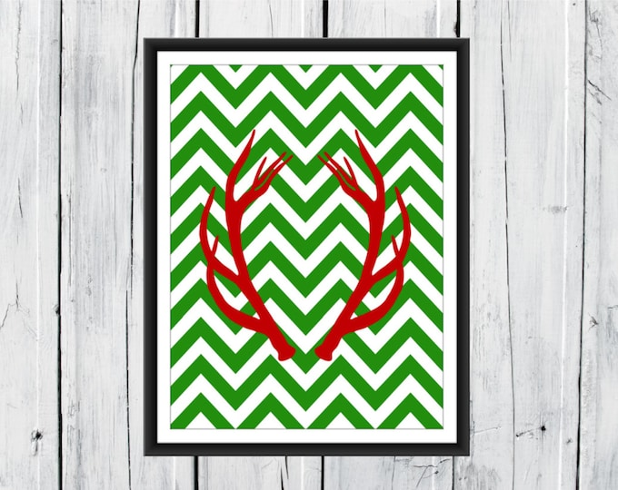 Deer Antlers - Hunting Lodge Decor - Chevron Background - Antler Print