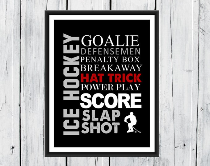 Ice Hockey Word Art Print 8x10 Custom Colors
