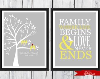 Family Tree 2 piece set -  Digital Download PDF