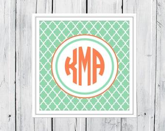 Monogram  Print -  Dorm Decor - Nursery Print - Preppy Gift  CANVAS printing available