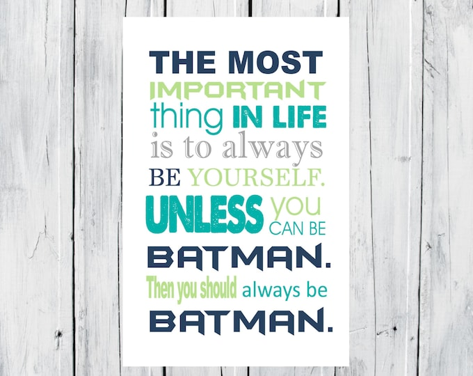 Batman Print Super Hero Print - Superhero Room Decor