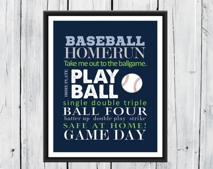 Baseball Decor - Baseball Word Art Print 8x10 Custom Colors- Baseball Nursery Canvas Available