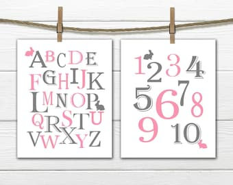 Bunny Nursery Decor - Pink and Gray Rabbit Nursey Decor  - Two Piece Print Set Bunny ABC & 123