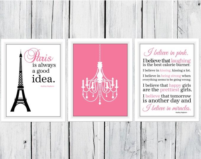 Paris is Always A Good Idea and I Love Pink set OF 3 Prints Audrey Hepburn Quote Dorm Decor