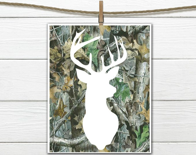 Rustic Nursery Art -  8x10 Instant Download Deer Print  Camo Deer Head Print