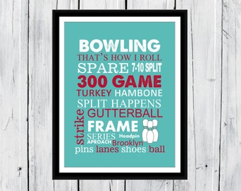 Bowling Word Art 8x10 Print CANVAS AVAILABLE