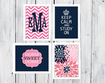 Dorm Decor Custom Colors 4 Print Set -  8 x 10