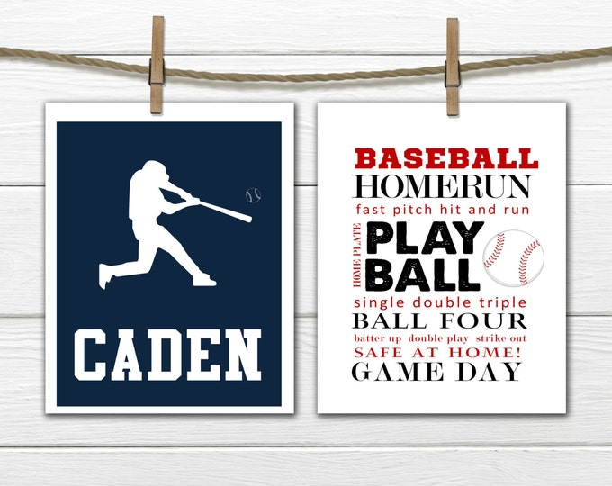 Baseball Word Art Print 2 Piece Set-  Custom Colors and Sizes - Sports Nursery CANVAS AVAILABLE
