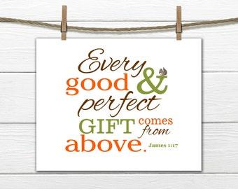 Woodland Nursery Art - Bible Verse Nursery Print James 1:17 Christian Art 8x10 Instant Download