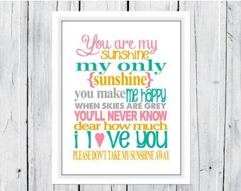 You are my Sunshine Nursery Print 11x14