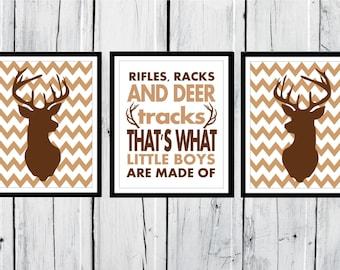 Deer Antlers - Hunting Lodge Decor - Antler Print  Nursery Decor - Chevron Background - Custom Colors