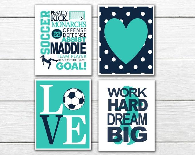 Soccer Wall Art Set - Girl's Soccer - Soccer Love