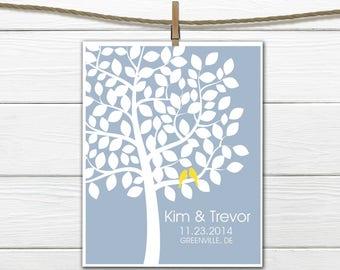 Wedding Tree Love Birds - Modern Wedding  Print - Wedding Gift - Bridal Shower Gift - Engagement Gift