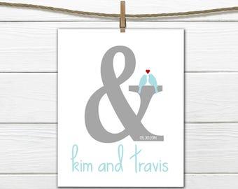 Wedding Gift - Bridal Shower Gift - Ampersand - Home Decor - Engagement Gift
