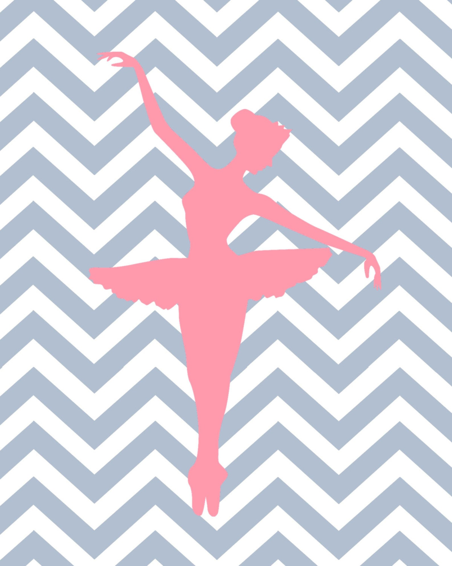 ballet wall art - chevron - ballerina prints - set of 3