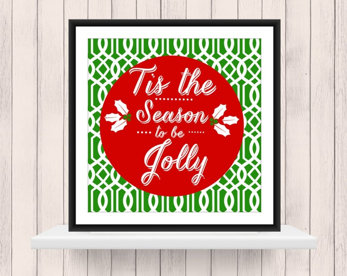 Christmas Decor -  Tis the Season on Lattice Background  - Christmas  Word Art