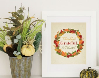 Thanksgiving Decor -  Autumn Wreath - Thanksgiving Word Art -  8x10 PDF Instant  Download