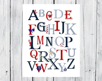 Nautical Nursery - Nautical Alphabet Print  -  Custom Colors -  Nursery Decor