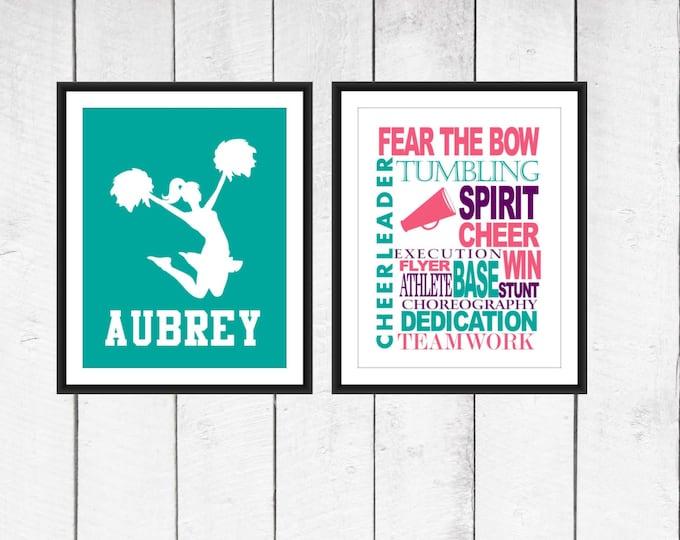 Cheer Word Art Print 2 Piece Set-  Custom Colors and Sizes - Sports Nursery - Cheerleaders Print