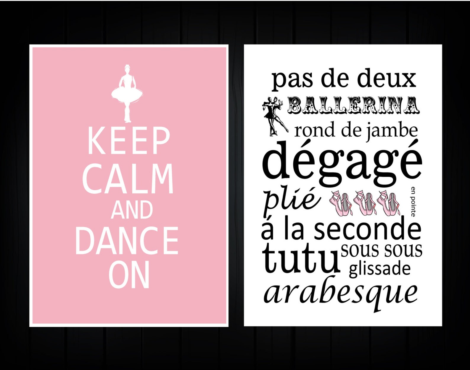ballet word art - keep calm and dance on set of 2 - you choose size and colors