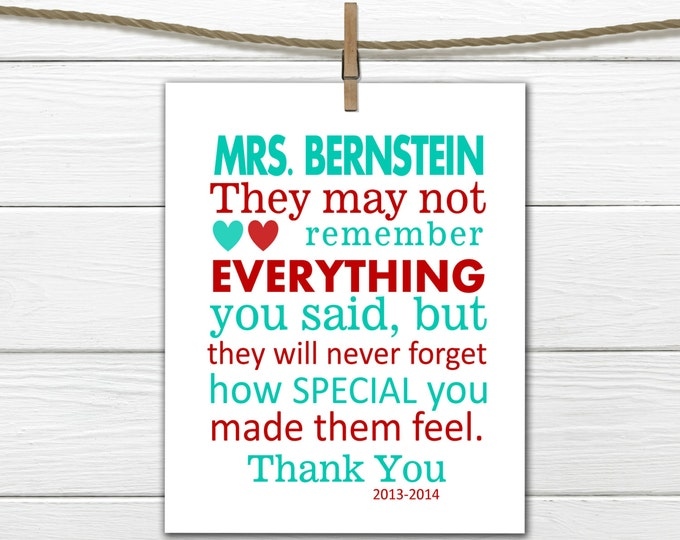 Teacher Appreciation Gift Print  Custom Colors & Personalized