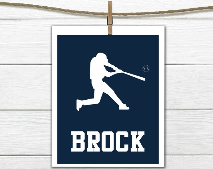 Baseball Print  Personalized - Baseball Nursery - Boy's Room Decor CANVAS AVAILABLE
