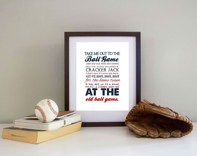Baseball Print Take me out to the Ballgame  Pick your Team - CANVAS AVAILABLE
