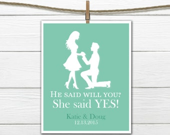 Engagement Gift - She said yes! - Bridal Shower Decor- any colors -