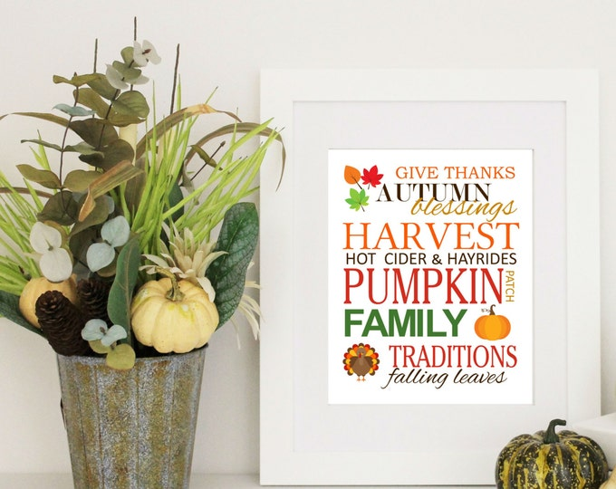 Autumn Decor - Fall Decor -  Print Subway Art